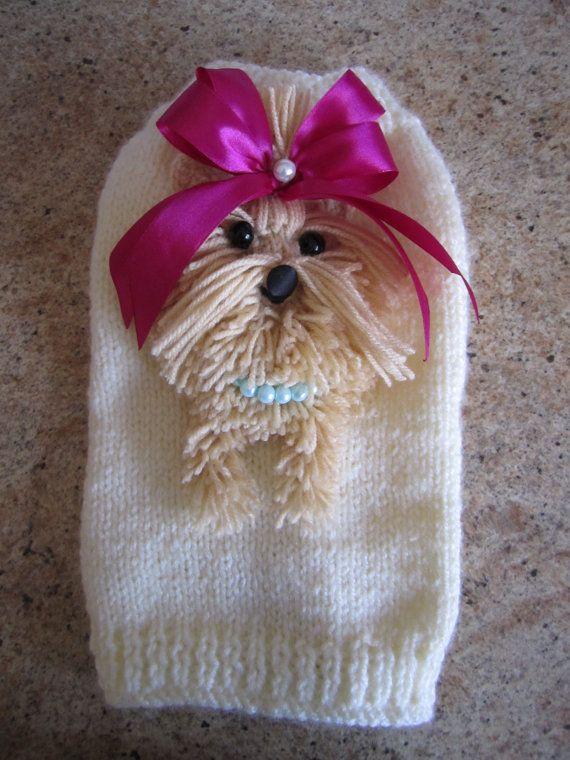 Dog Sweater Yorkie  Cream  By Nina's Couture Closet