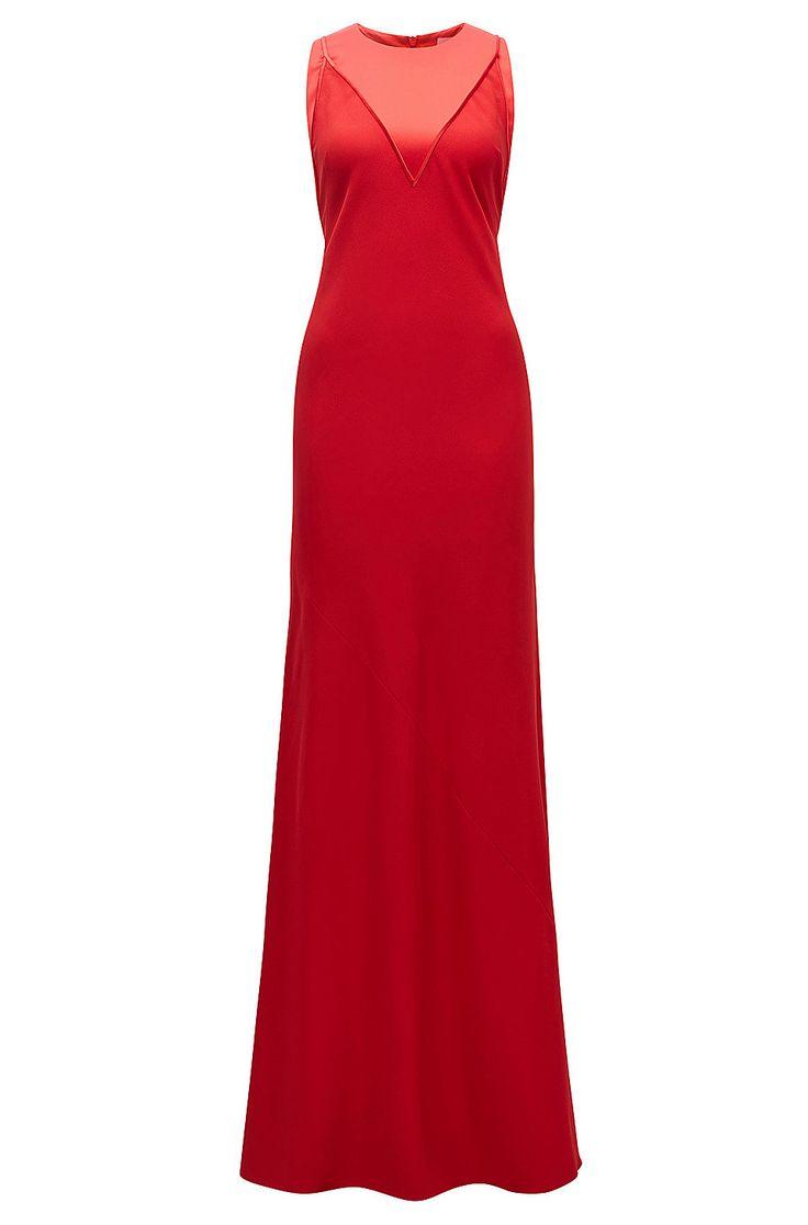 Abendkleid aus weich fließendem Material-Mix Rot von BOSS für Damen für 549,00 € im offiziellen HUGO BOSS Online Store versandkostenfrei bestellen!