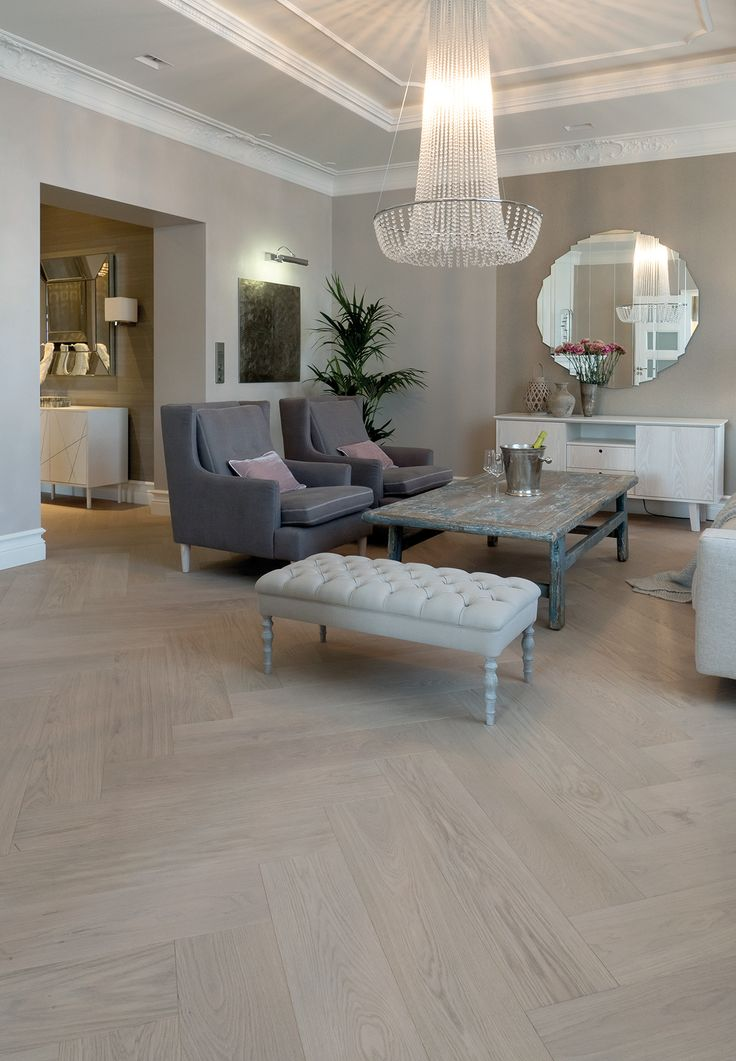 Oak Herringbone GREY brushed wax oiled in private home livingroom. Interior design by Milla Alftan.