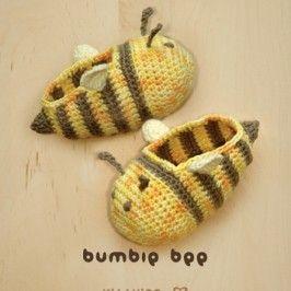 Bumble Bee Baby Booties Crochet Pattern by Kittying Crochet Pattern