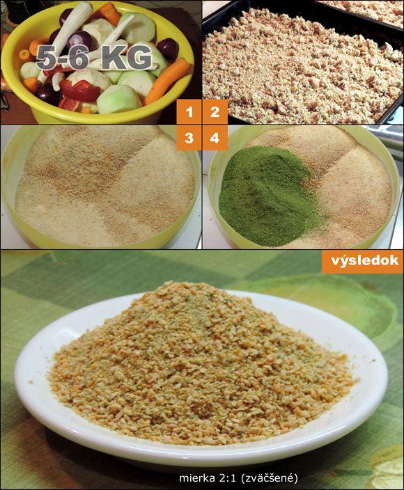 Domáca vegeta Ingrediencie 1 kg mrkvy 1 kg petržlenu 0,5 kg kalerábu 0,5 kg zeleru 0,5 kg cibule 1-2 červené papriky aj kvôli farbe 1-2 hrste sušenej petržlenovej vňate 1-2 hrste sušenej zelerovej vňate 1-2 hrste sušeného ligurčeka vegeta, magi, 1 kg soli Inštrukcie Čerstvú zeleninu pomlieť na mäsovom mlynčeku (dierka 4mm) a pomiešať so …