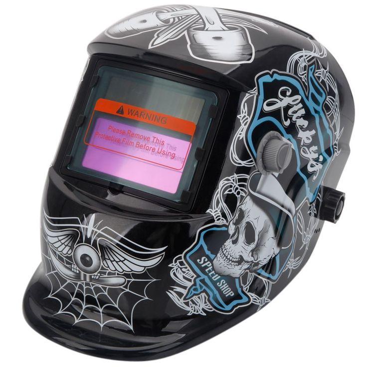 Solar Powered Auto Darkening Welding Helmet Skull Pattern & White