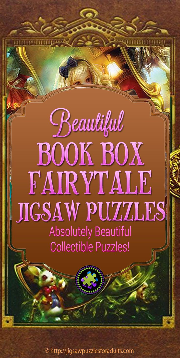 Book Box Fairytale Collection Puzzles by Masterpiece are absolutely beautiful jigsaw puzzles that come in a box that looks like a classic book. These make fantastic gifts!