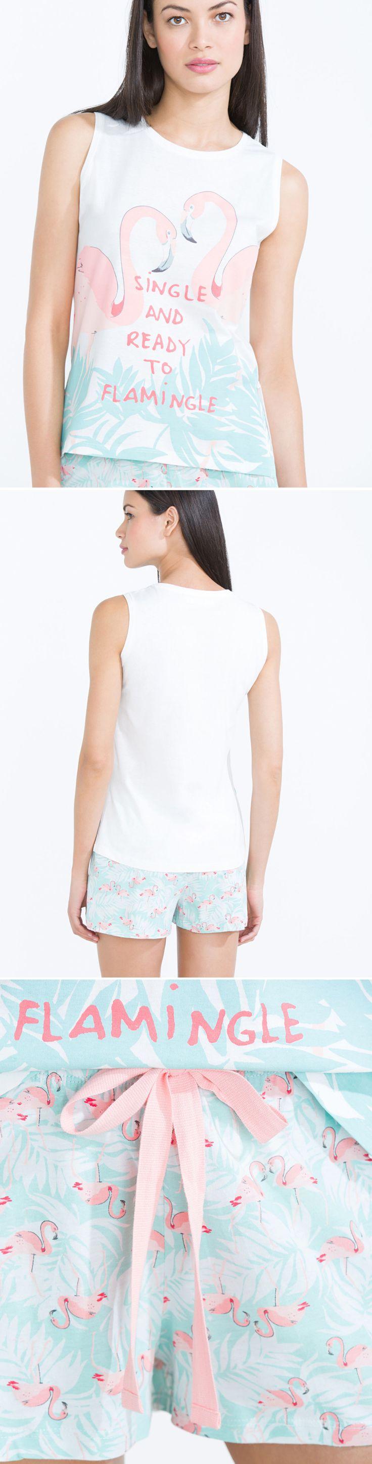 @womensecret Single and ready to flamingo' short pyjama