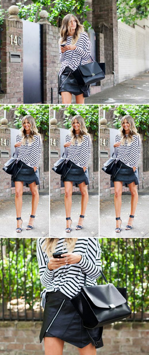 LE FASHION BLOG STREET STYLE ELLE THEYALLHATEUS STRIPE CONTRAST LONG SLEEVE TOP LEATHER PANEL ZIPPER SKIRT ANKLE STRAP OPEN TOE HEEL SANDALS CELINE BLACK LEATHER TRAPEZE BAG OMBRE BLONDE HAIR WAVES VIA XSSAT VOGUE AUSTRALIA Ebony Eve T-shirt Winston Wolfe leather skirt MLM heels