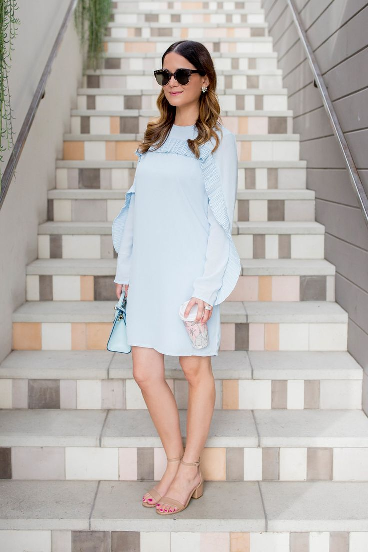 ASOS Blue Ruffle Trim Dress