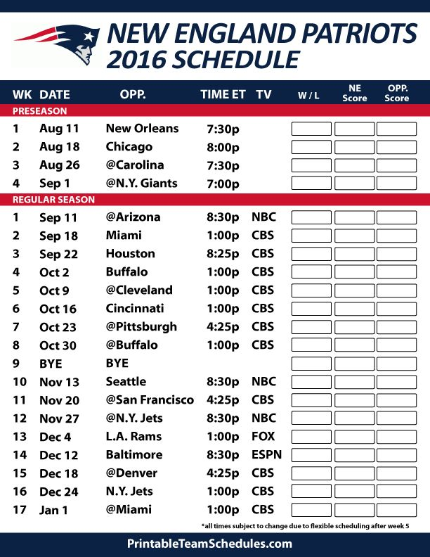 2016-17 New England Patriots Schedule