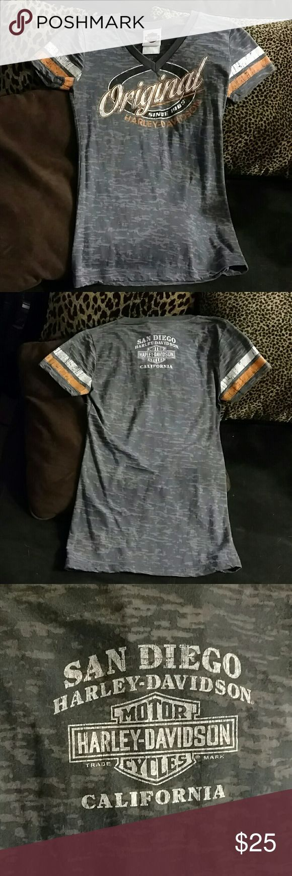 Custom, San Diego Harley-Davidson Ladies Tee Adorable, never worn but have no tags. Custom San Diego Harley-Davidson, short sleeve burn-out t-shirt. Perfect for Summer. Form fitting. Harley-Davidson Tops Tees - Short Sleeve