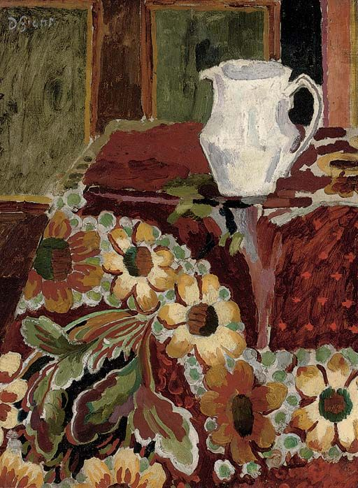 poboh: Jug on a table cloth, Duncan Grant. Scottish Camden Town Group Painter (1885 - 1978)