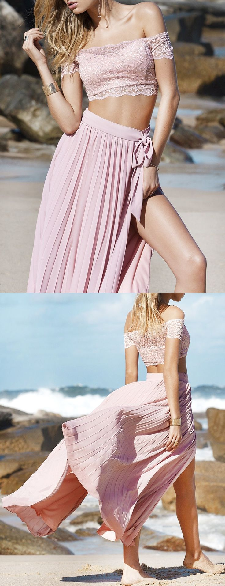 2017 prom dress, two piece long prom dress, pink long prom dress, off the shoulder long prom dress, slit formal evening dress, bohemian prom dress