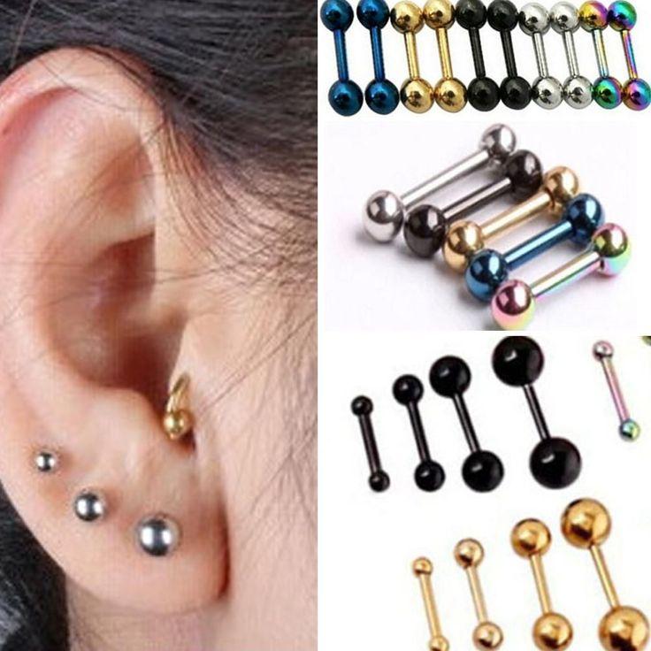 1pair Punk Men's Women Stainless Steel Barbell Button Ear Stud Earring Piercing #Unbranded #Stud