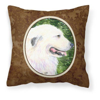 Carolines Treasures White Great Pyrenees Dog on Green Background Decorative Outdoor Pillow - SS8922PW1414