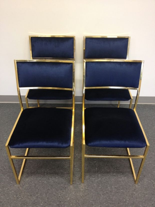 Vintage brass chairs in navy velvet furnishings for Dining room velvet chairs