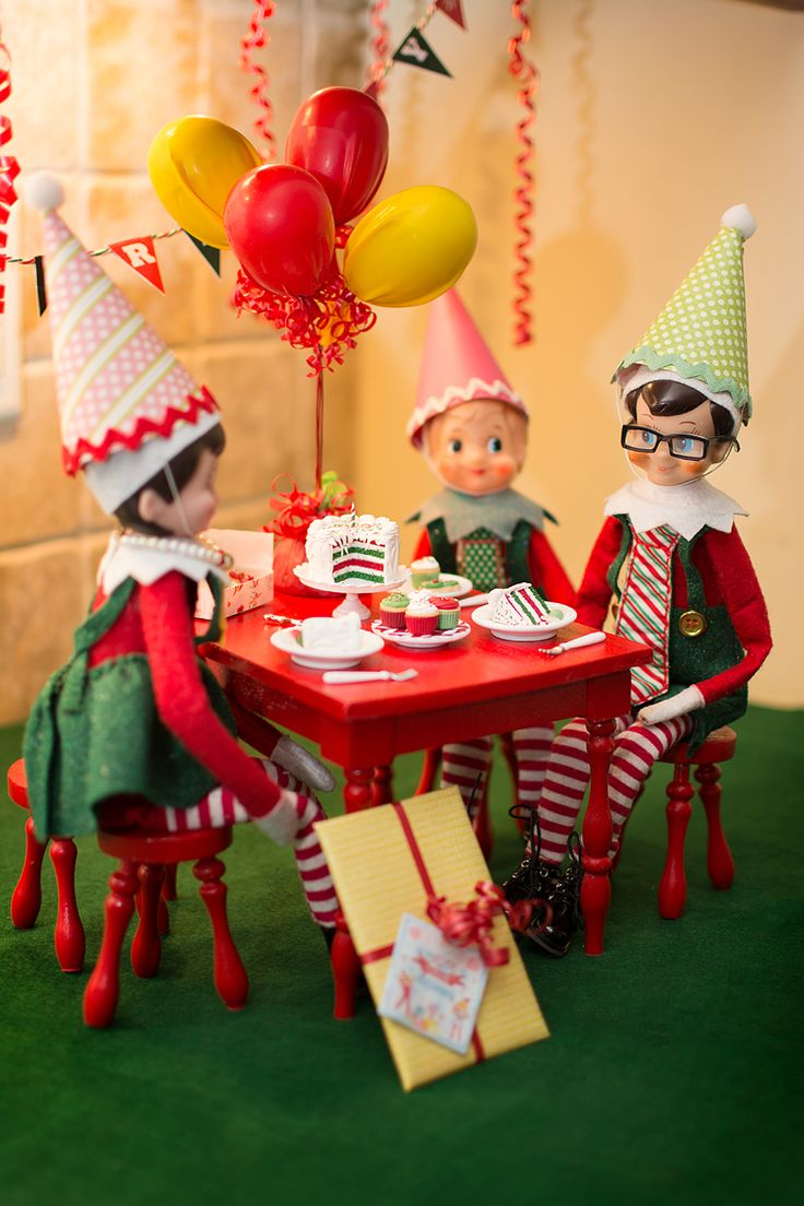 Elf on the Shelf Ideas. Elf Birthday Part Celebration.  To view more pins like this one, search for Pinterest user amywelsh18.