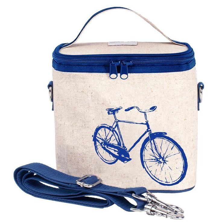 RAW LINEN - Blue Bicycle Small Cooler Bag
