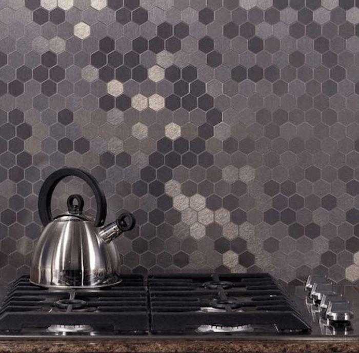 Shades of Hexagonal Grey Tiled Splashback