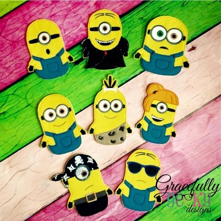 New Minion Finger Puppet Embroidery Design - 4x4 Hoop or Larger
