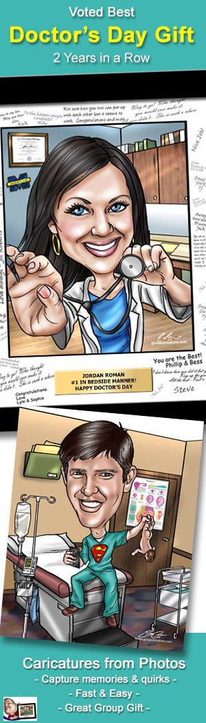 National Doctor's Day Gifts - Custom caricature captures it all!