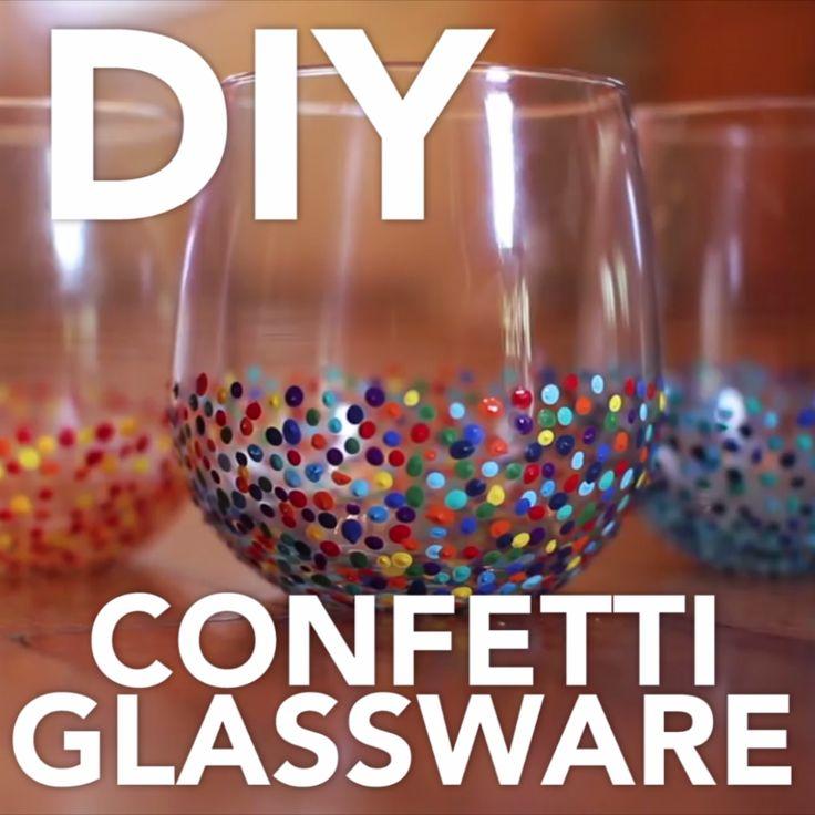 DIY Confetti Glassware
