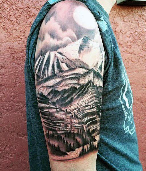 40 Mountain Tattoo Designs For Men - Climb The Highest ...