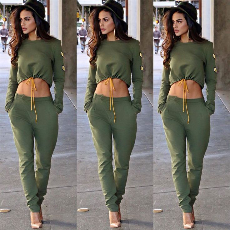 Stylish Women Cropped Two Pieces Set Patchwork Track Pants Sports Tracksuits
