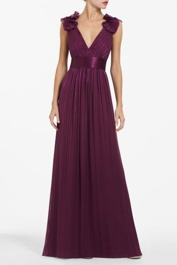 BCBG Torey v-neck long dress in wine/plum. This would be a pretty bridesmaid dress for Holly