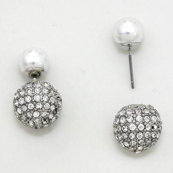 Double Sided Silver earring Clear Crystal pave ball White Pearl peek a boo stud #Uniklook #postpiercedearrings