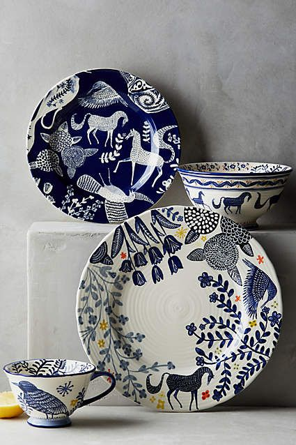 Saga Dinnerware. Scandinavian folk art in indigo.
