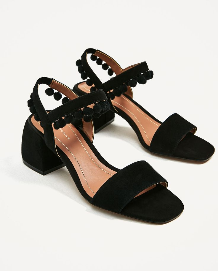 Image 1 of LEATHER MID HEEL POMPOM SANDALS from Zara