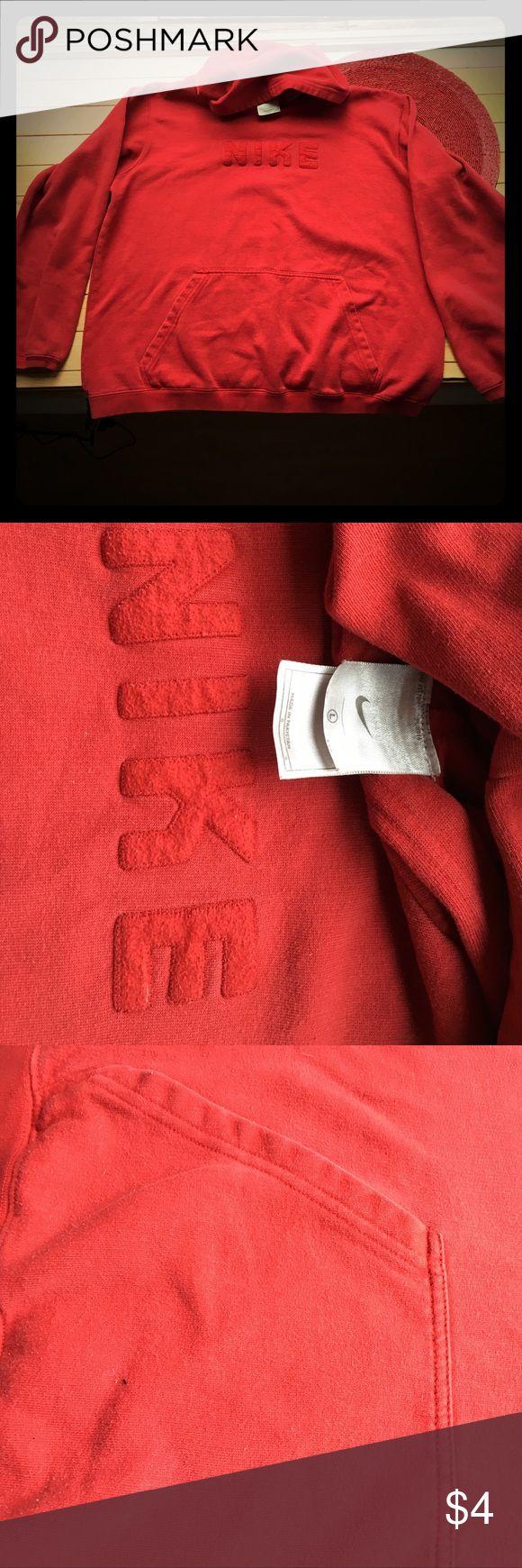 Red Nike hoodie sweatshirt, L (men's) Red Nike hoodie sweatshirt, L (men's), well loved. See photos, prices accordingly Nike Shirts Sweatshirts & Hoodies