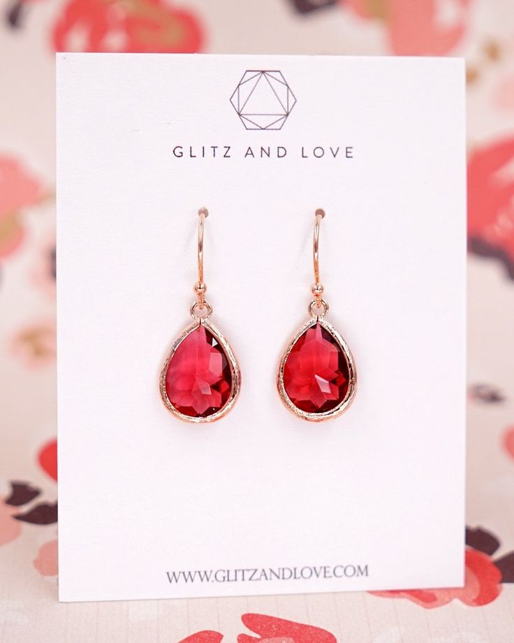 Ruby Red Teardrop Earrings in Rose Gold, Simple Bridesmaid Earrings, Gifts for her, Bridal wedding jewelry gifts, www.glitzandlove.com