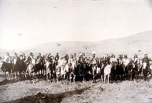 Chief.Joseph.Band.1877.  Chiefs Joseph,    Looking Glass and White Bird in spring of 1877.  Nez Perce War-250 Warriors