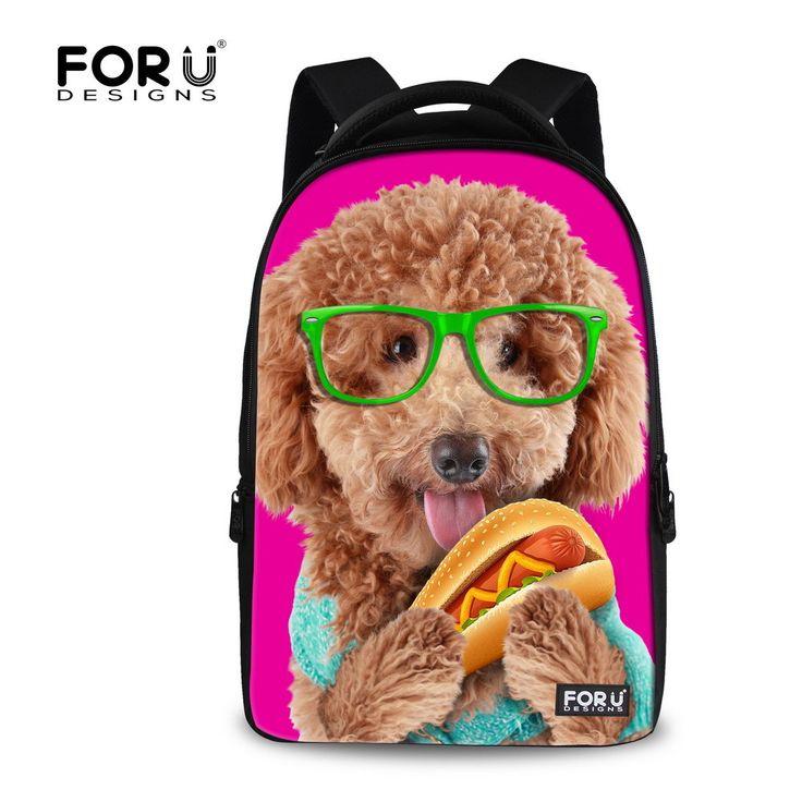 Fashion 3D Animal Dog Cat Printing Women's Laptops Bagpacks Large Capacity Teenager Girls School Backpacks Women Travel Backbag