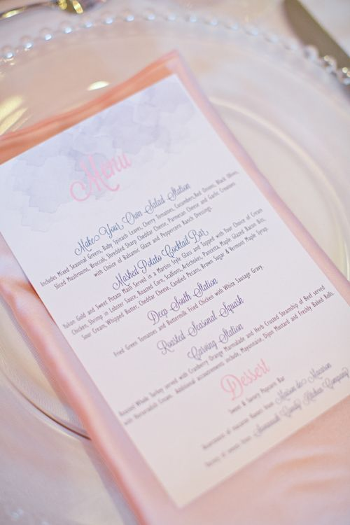 Soft pink and blue menu for Savannah wedding, photo by Harwell Photography | via junebugweddings.com