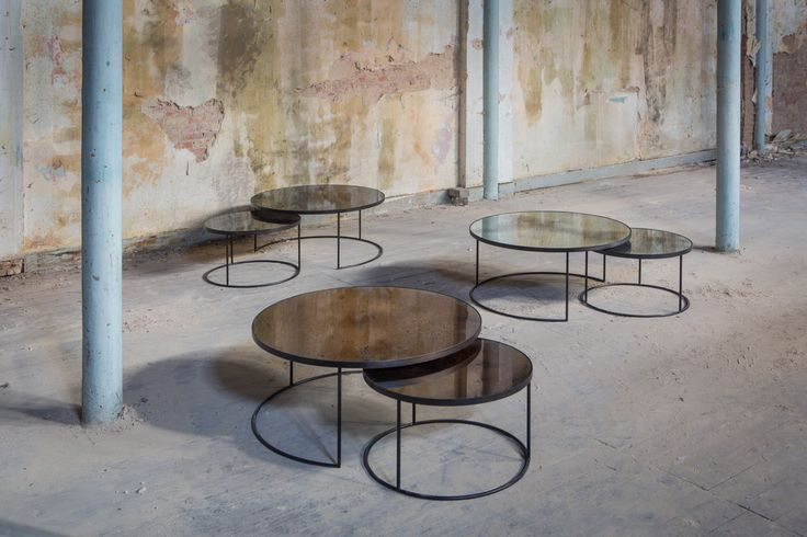 The Notre Monde Round Nesting coffee table sets from the Fall/Winter 2016 Tribal Quest collection.
