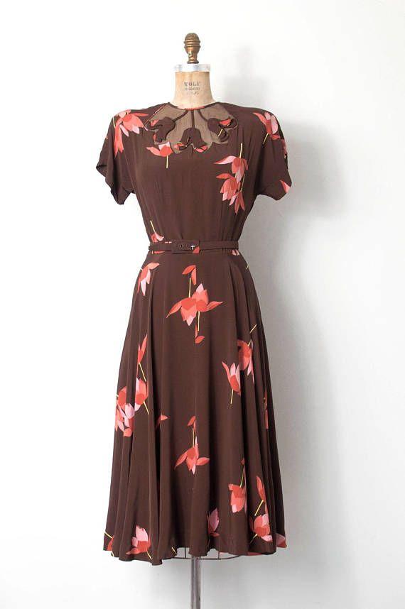 vintage 1940s dress / 40s floral printed rayon illusion dress