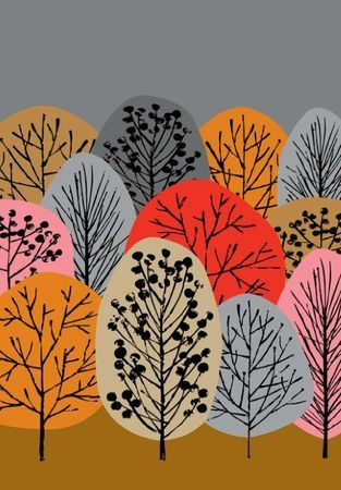 Autumn Woodland - Pink, Red, Brown, Grey