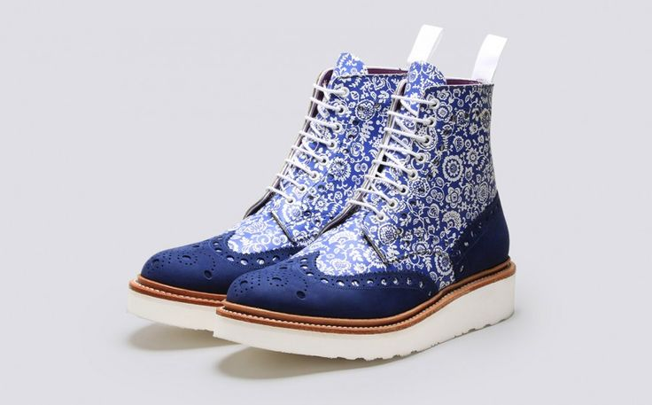 Grenson Shoes & Accessories | Fred Liberty Print Mens Brogue Boot in Blue Calf Leather - 3 Quarter View. On Sale but still $$$