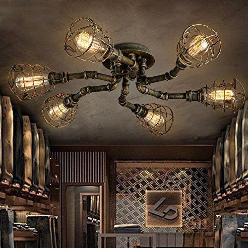BAYCHEER Deckleuchte Industrielampe 6 Lampenfassung 65cm Retro Kupfer Semi Flush Deckenlampe Kronleuchte Pendellampe: Amazon.de: Beleuchtung