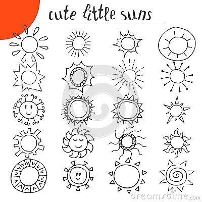 Hand drawn cute little suns. Doodle set Mais