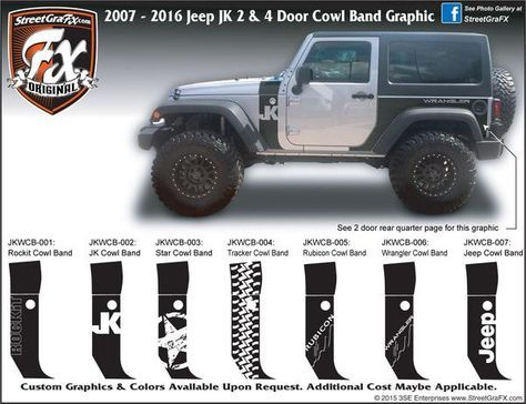 2007 2018 Jeep Jk Wrangler Cowl Band Complete Graphic Kit