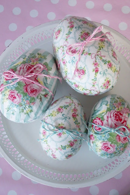 Beautiful decoupaged Easter eggs with Shabby Chic appeal. ~ Love ~