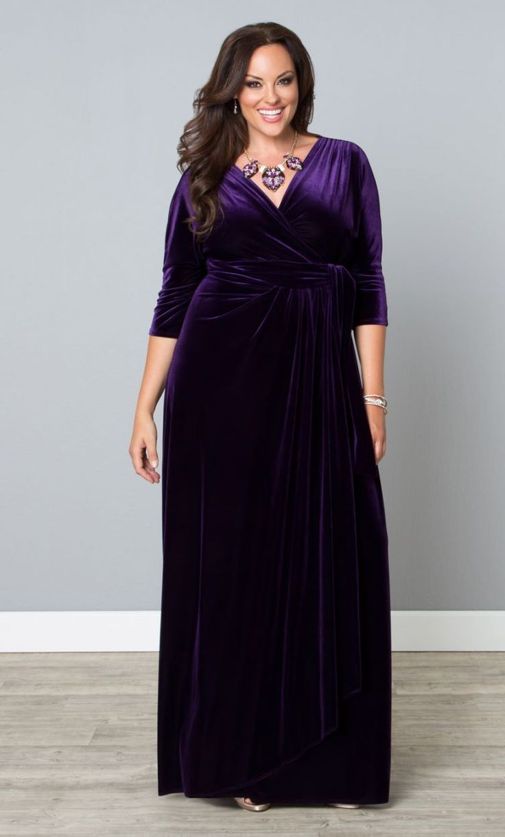 plussize wrapped in luxury dress in purple quartz