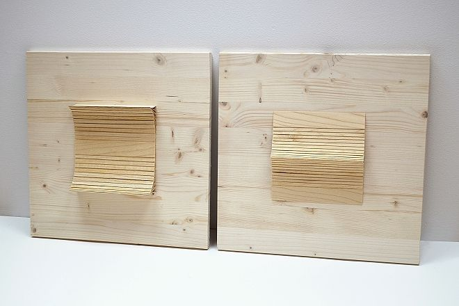 Eva Francová, Parcela 1606/2, Parcela 1606/3, wood, 40 x 40 x 5 cm, 2016
