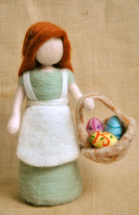Easter Decoration Waldorf inspired needle felted doll by MagicWool