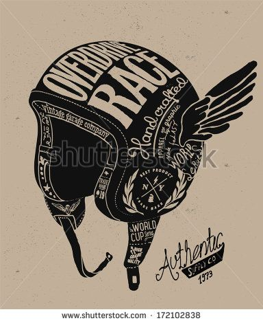 Motorcycle Themed handmade drawing helmet - stock vector