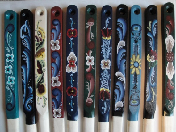 Norwegian Rosemaling Lefse Stick Custom Order by craftswithgramma, $10.00