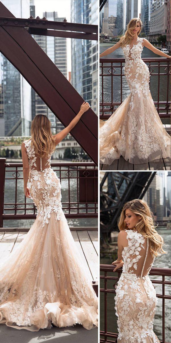 Milla Nova 2018 Wedding Dresses Collection. Amazing blush mermaid floral lace wedding dress.