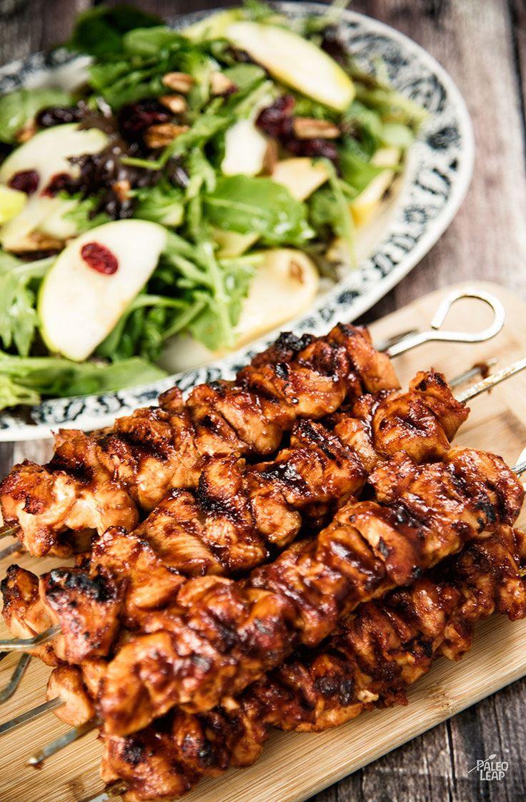 Chicken Kebabs With Apple Cranberry Salad #Paleo