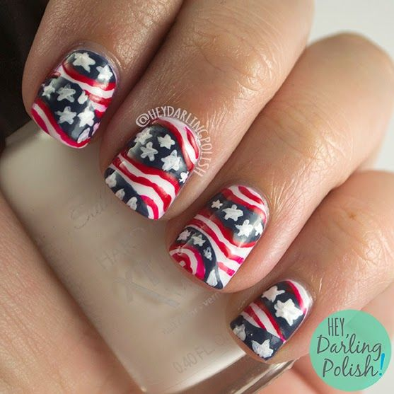 nails, nail art, nail polish, america, july 4th, red, white - 171 Best Nail Art - 4th Of July And USA Patriotic Images On